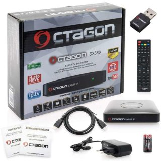 Octagon SX888 IP HEVC Full HD LAN USB H.265 IPTV m3u VOD Stalker Xtream Multimedia Box mit 300Mbit Wlan Stick