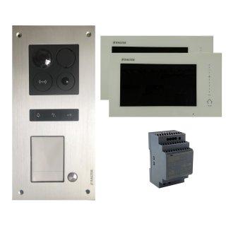 """BALTER ERA Silber 2-Draht IP Unterputz Türsprechanlage für 1 Teilnehmer 2x 7"""" Monitor Komplett SET Zutrittskontrolle RFID"""