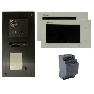 """BALTER ERA 2-Draht Schwarz IP Unterputz Türsprechanlage 1 Teilnehmer 2x 7"""" Monitor Komplett SET Zutrittskontrolle RFID"""