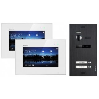 """Balter EVO Schwarz Video Türsprechanlage 2x 7"""" Monitor für 2 Teilnehmer 2-Draht BUS EVO-KIT-2FAM-BL"""
