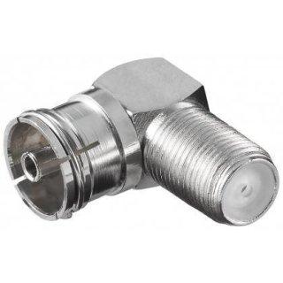 Winkeladapter: F-Buchse - IEC/Koax-Buchse 90° - Zink 12237