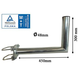 Wandhalter mit Zahnschelle 48mm 450 mm langTÜV Zertifiziert