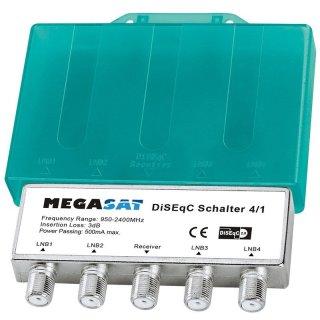 Megasat DiSEqC Schalter 4/1 HD Switch Sat Verteiler mit Wetterschutz Gehäuse