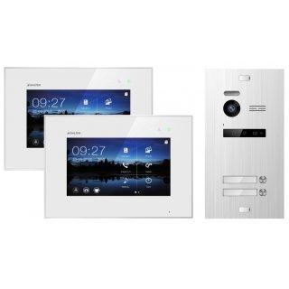 """Balter EVO Silber Video Türsprechanlage 2x 7"""" Monitor für 2 Teilnehmer 2-Draht BUS EVO-KIT-2FAM"""
